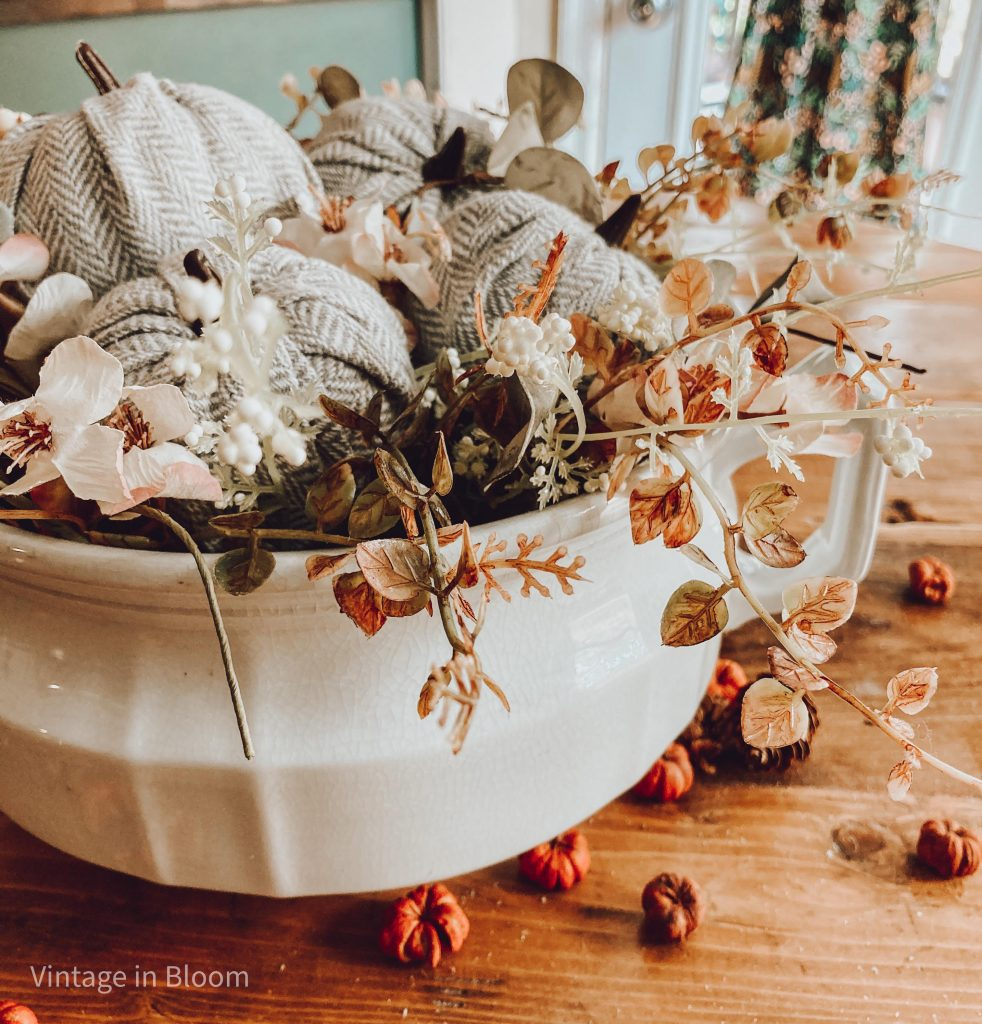 DIY Ironstone Fall Centerpiece